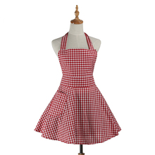 Retro Kitchen Apron Woman Gingham Cooking Waitress Salon Hairdresser Working Cotton Apron Dress Avental de Cozinha Divertido