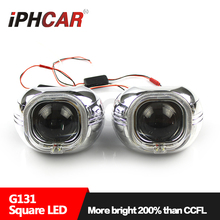 Free Shipping IPHCAR LHD/RHD HL H1 3.0 White Square Angel Eyes Projector Lens H1 Xenon Bulb H4 H7 Headlight Headlamp