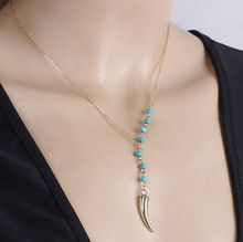 New Arrival Women Necklace Fashion Jewelry Vintage Gold Plated Chain Necklace Green Turquoise Beads Chili Pendant Necklace#2167