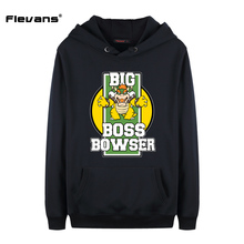 Flevans New Men Cartoon Sweatshirt Super Mario Big Boss Bowser Printed Hoodies Hip Hop Sweatshirt Pullover Streetwear