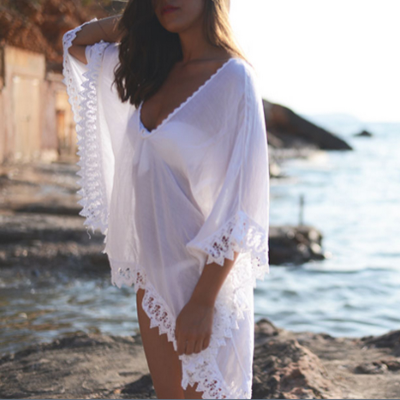 Sexy Women Lace Crochet V Neck Loose Blouse Half Sleeve Boho Beachwear Tops Summer Beach Cover Up Pullover Female White Blusas
