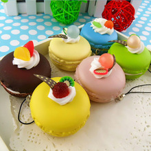 1PC Kawaii Fruit Macaroon Figurines Miniature Decration Craft Squishy Cell Phone Soft Food Charms Key Chain Straps