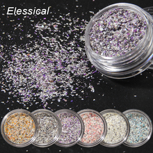 ELESSICAL 6 bottle/set Ultra Thin Colorful Shell Powders Nail Glitters Acrylic Powder Polishing For Nails 3D DIY Nail Art WY1007