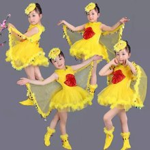 Fashion 3 PCS children girls prom dresses kids girls christmas halloween carnival yellow bird dance costumes for shows(China)
