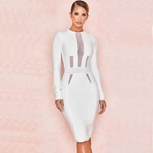 654492e5017f wholesale 2019 Newest Women White long sleeve Elastic tight Sexy  perspective celebrity Cocktail party bandage dress(L2827)