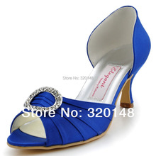 A2136 Women Royal Blue Bridesmaid Pumps Peep Toe Rhinestone Two Piece Mid Heel Satin Evening Prom Wedding Shoes White Burgundy