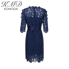 KMD KOMODA Summer Fashion Lace Dress Solid Blue Tie Waist O-neck Floral Cut Out Dress Elegant Breathable Female Midi Dress