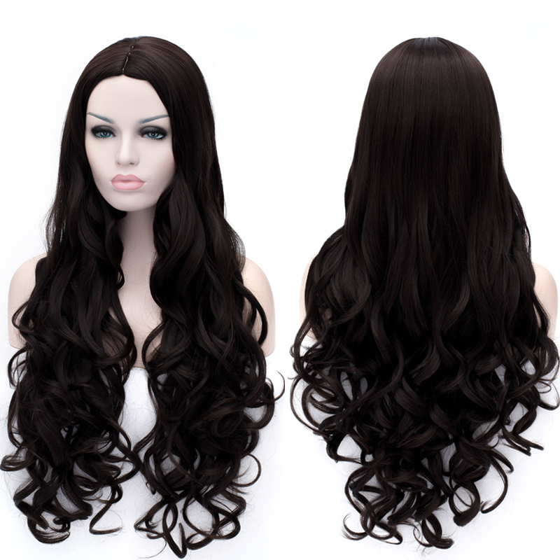 Fashion Synthetic Wigs For Black Women Long Wavy Curly Hair Wig Cheap Good Quality Brown Red Color Wig Hair Wigs Free Shipping<br><br>Aliexpress