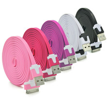 New Original Colorful 1M 2M Long Flat Micro USB Data Sync Charging Cable Cord for iPhone 3 3G 4 4S iPad 1 2 iPad Touch iPod Nano