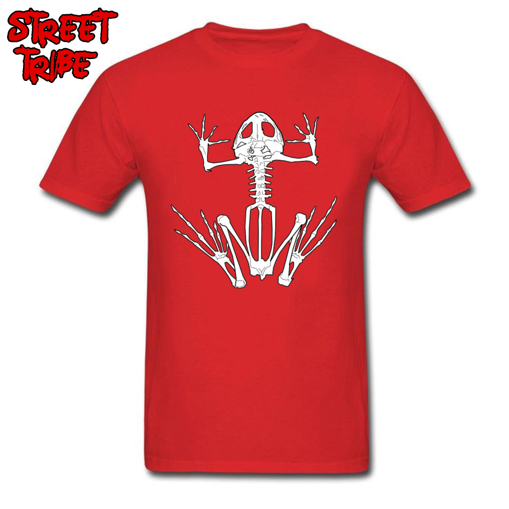 Frog Skeleton 13000 Normal Fall Pure Cotton O-Neck Men Tops Shirt Unique Sweatshirts Company Short Sleeve Top T-shirts Frog Skeleton 13000 red