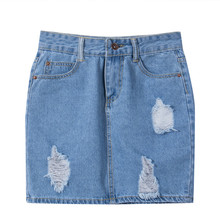 Stylish Women clothes Ripped Rip Detail High Waist pocket Button Hole Stretch Denim Pencil Jeans Skirts one pieces