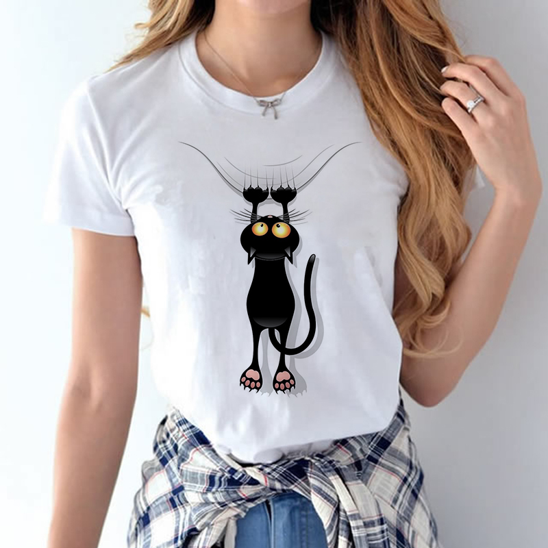 100% Coton 2018 Femmes T chemises D'été Amour Imprimé T-shirt Bande Dessinée Occasionnel de Court Manches Shirt Tops Plus La Taille Blanc T-shirt 14