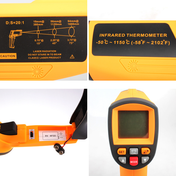 Non-Contact Laser LCD Display Professional Digital IR Infrared Thermometer Temperature Meter Gun Point -50 to 1150 Degree<br><br>Aliexpress