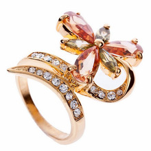 Exaggerated Fashion Copper Big-size Fresh Sparkling Water-drop Flowers High-class Zircon Statement Ring Party Ball Hand Jewelry(China)