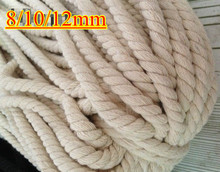 8/10/12mm 100% cotton rope thick 3ply twisted black/white/natural DIY accessory handwork decorative bondage free shipping 20m(China)