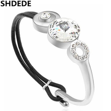 Women Fashion Crystal from Swarovski Leather Vintage Style Bracelets Bangles Luxurious Banquet Party Jewelry 15755
