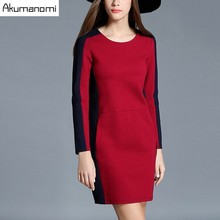 Autumn Winter Dress Red O-neck Full Sleeve Blue Panelled Spliced Pocket Women's Clothes Spring Dress Brief Plus Size 5XL 4XL 3XL(China)