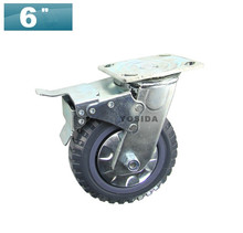 "6"" Extra-Heavy Polyurethane Cabinet Caster Wheel,WITH BRAKE, Load Capacity 410KG Per Caster(China)"