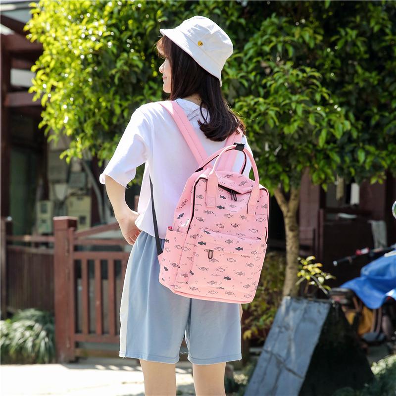Menghuo Fish Printing Women School Bag Backpack for Teenage Girls Backpacks Female Canvas Children Schoolbag Women Bag s (46)