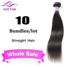 Brazilian Straight Virgin Hair 7A Unprocessed Virgin Hair Straight Cheap Human Hair Bundles Whole Sale 10 Pcs Lot Free Shipping