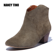 NANCY TINO 2017 Spring/Autumn Ankle Boots For Women Medium Heel 100% Genuine Nubuck Leather Women's Fashion Short Martin Shoes