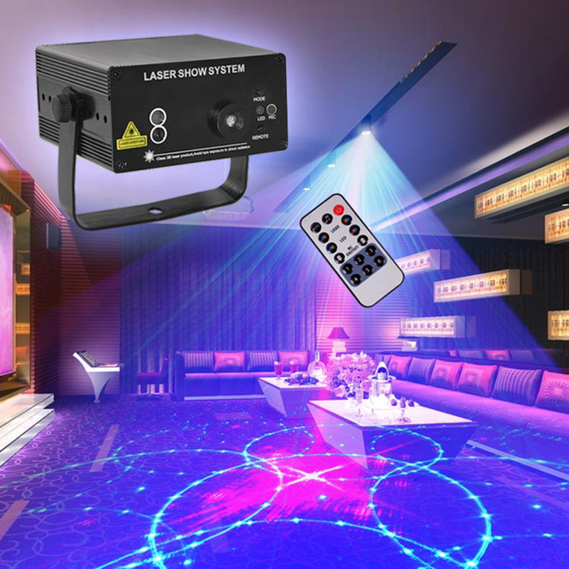 Mini 24 Pattern Red Green Laser Blue LED Stage Lighting IR Remote Home Party Professional Projector illumination DJ Light Disco <br><br>Aliexpress
