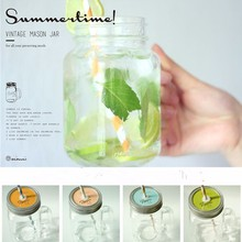 450ML Mason Jar glass cup beverage mug with lid straw summer  Ice Cream Fruit Cold Drinking Jars juice cup gifts icecream Jar