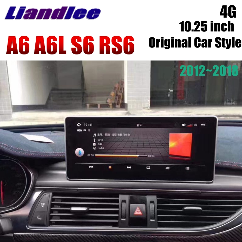Liandlee Car Multimedia Player NAVI For Audi A6 A6L S6 RS6 C7 4G 2012~2018 Original Car System 10.25 Radio Stereo GPS Navigation 4