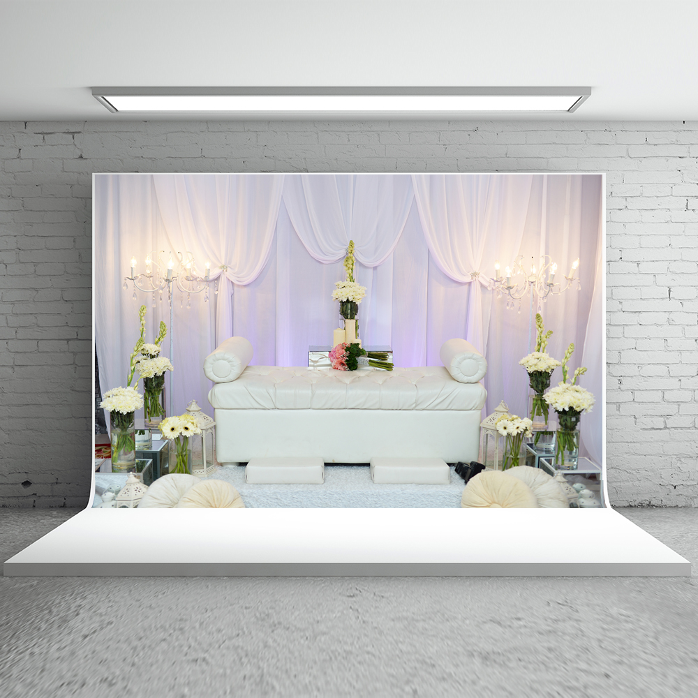 Kate Indoor Wedding Photo Background 10ft Curtain Background For Photos Flower Sofa Washable Photoshoot Background Studio <br>