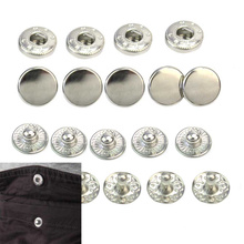 50pcs/Set 10mm Silver Tone Metal No Sewing Snap Press Studs Buttons for Leathercraft Clothes Bags Fasteners Poppers Accessories