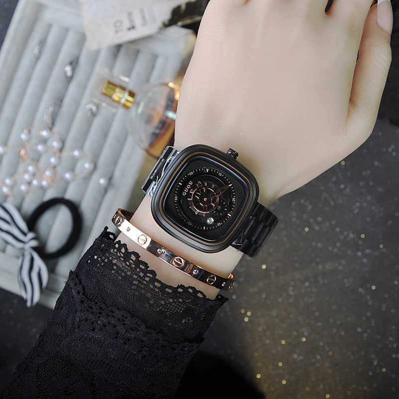 Female Watch quartz-watch Stainless Steel Strap Ladies Watch Black Case fashion retro trend individuality Watches Women<br><br>Aliexpress