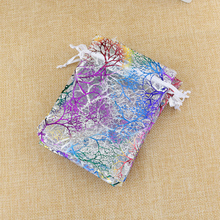 100pcs 7x9cm Jewelry Packing Drawable Organza Bags Wedding Gift Bags White Coralline Organza Pouch Wedding Party Favor Gift Bag
