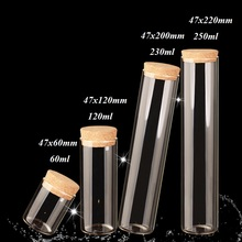 10 X Dia47mm Large High Borosilicate Glass Straight Bottles Cork Test Tube Sealing Lucky Home Coffee Storage Jars Wholesale
