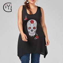 GIYI Plus Size 5XL Skull Print Tunic Tank Top Women Clothes Summer 2017 Black Sexy Loose Sleeveless Long Tank Ladies Big Size