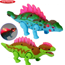 New Electric Dinosaur Walk Talking Toy Cartoon Animal Model Plastic Interactive Toys Flashing Electric Dinosaur In Random Color(China)