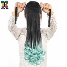 HAIR SW long Wavy High Temperature Sythetic Tie Up ponytail clip in Hair Extension Ombre Highlight color with mint/red/blue/pink