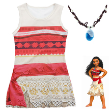 2017 Movie Moana Cartoon dress Kids girl princess shirt dress Moana cosplay necklace pandent accessary cosplay costume 3-9 Year