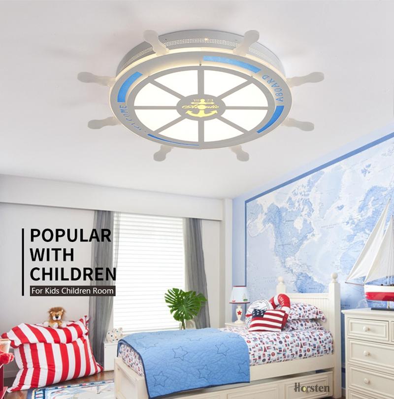 Horsten Modern Creative Acrylic LED Ceiling Lamp For Baby Room Kids Children Bedroom Pirate Rudder Lampshade Ceiling Light (4)