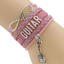 Waxed Cord And Braided Cord Bracelets Wording Guitar 5 Colors Europe Style Drop Shipping PayPal Payment(China)