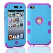 For iPod Touch 4 Touch4 4th 4G Hybrid Shockproof Combo Robot 3 in 1 PC Rubber Case Protective Back Cover Skin+1 pcs of Flim