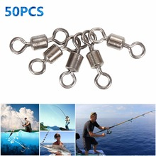 50pcs High Quality Ball Bearing Rolling Swivel Solid Rings Sea Fishing Hook Connector