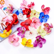 20PCS Orchid Artificial Flower Head for Wedding gifts Decoration DIY Wreath Gift Scrapbooking Craft Fake Flower