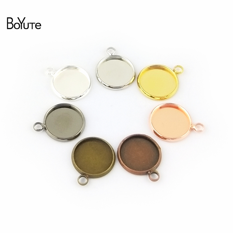 BoYuTe 50Pcs 6 Colors Plated Round 10MM 12MM 14MM 16MM 18MM 20MM 25MM Cameo Cabochon Base Diy Blank Tray Pendant Base (4)