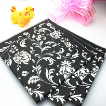 HEY FUNNY Vintage Table napkin paper tissue print black flower handkerchief decoupage wedding birthday party cocktail decor