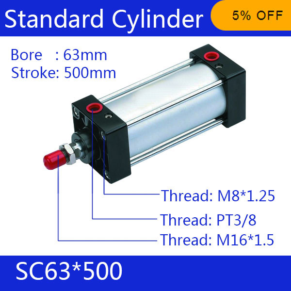 SC63*500   63mm Bore 500mm Stroke SC63X500 SC Series Single Rod Standard Pneumatic Air Cylinder SC63-500<br><br>Aliexpress