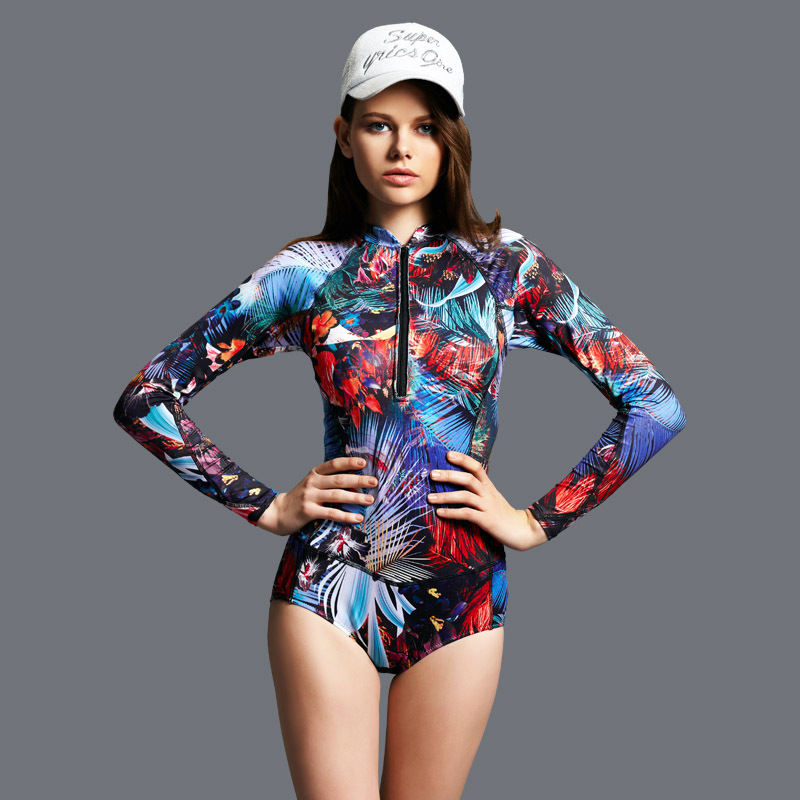 Beach sports Swim one-piece swimsuit element color printing Long sleeves Triangle Swimwear Female<br>