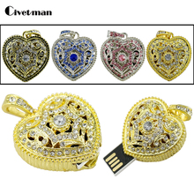 Crystal Usb2.0 Jewelry USB Flash Drive 4GB 8GB 16GB 32GB 64GB 128GB Bronze Heart Necklace Pendrive Pen Drive External Storage(China)