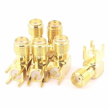 50 pcs Gold SMA female right angle solder PCB mount RF coaxial connector Adapter(China)