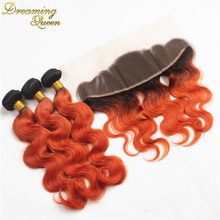 8A Dark Root Ombre Hair Extension 1B/350 Orange Ombre Brazilian Hair Body Wave Red Two Tone Weave Bundles 3 Pcs Lot With Frontal