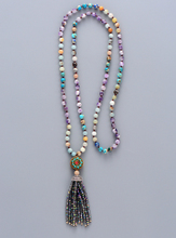 Unique Crystal Tassel Necklace High End Natural Stones Amazonite Purple Crystal Tibetan Pendant Beads Tassles Necklace